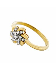 9ct YG Diamond Set Flower Ring