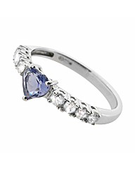 9ct WG Diamond and Iolite Heart Ring
