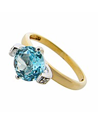 9ct Yellow Gold Diamond and Topaz Ring