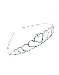 Silver Colour Clear Glass Stone Tiara