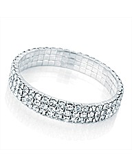 3 Row Silver Coloured Elastic Bracelet