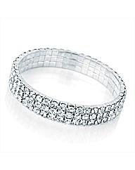 3 Row Silver Coloured Elastic Bracelet