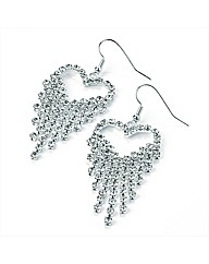 Silver Coloured Heart Shaped Earrings