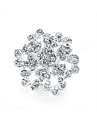 Silver Coloured Flower Brooch