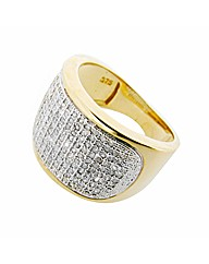 Gents 9ct YG Diamond Pave Ring