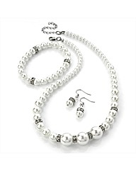 White Pearl Coloured Necklace Set