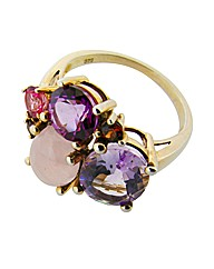 9ct Yellow Gold Purple Cluster Ring