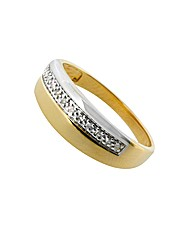 9ct Gents Diamond Wedding Band Ring