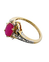 9ct YG Diamond and Ruby Footprints Ring