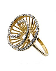 9ct YG Diamond Set Swirl Ring
