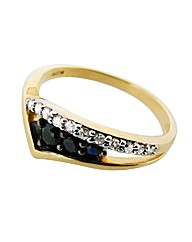 9ct YG Diamond Set Black Sapphire Ring