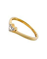9ct YG Diamond Set Heart Ring