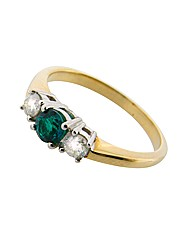 9ct YG Diamond and Emerald Trilogy Ring