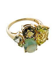 9ct Yellow Gold Green Cluster Ring