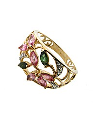 9ct YG Stone Set Floral Design Ring