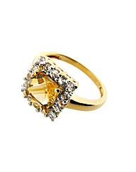 Citrine and White Topaz Square Ring