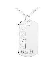 Silver Best Dad Dog Tag and Chain