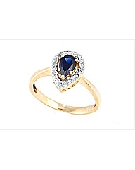 9ct YG Sapphire and Diamond Ring
