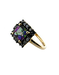 9ct Black Diamond and Mystic Topaz Ring
