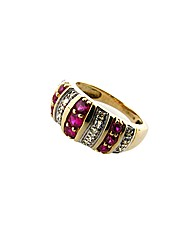 9ct Diamond and Ruby Ring