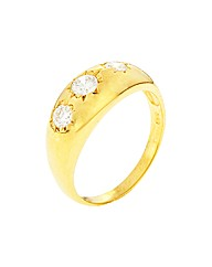 Gold Plated CZ Gents Ring