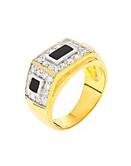 Gold Plated Gents Ring with Onyx and CZ