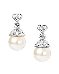 Jon Richard Crystal Heart Pearl Earring