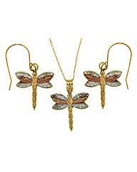 9ct Gold 3 Tone Dfly Earring and Pendant