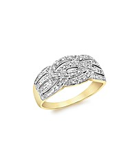 9ct Gold Diamond Multi Crossover Ring