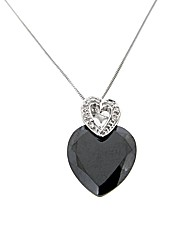 9ct White Gold Black CZ Heart Pendant