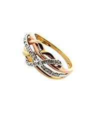 9ct Three Tone Diamond Ring