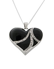 Silver and Black Enamel Heart Pendant