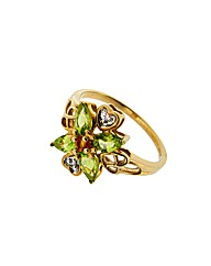 9ct Yellow Gold Multi Stone Cluster Ring