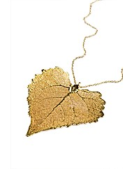 Jumbo Cotton Wood Gold Leaf Necklace