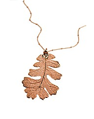 Jumbo Rose Gold Lacey Oak Leaf Necklace