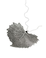Jumbo Cotton Wood Silver Leaf Necklace