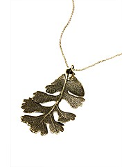 Jumbo Brass Lacey Oak Leaf Necklace