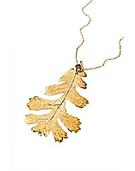 Jumbo Gold Lacey Oak Leaf Necklace
