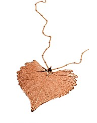 Jumbo Cotton Wood RoseGold Leaf Necklace
