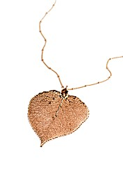 Large Rose Gold Aspen Leaf Necklace
