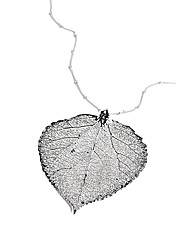 Large Silver Aspen Leaf Necklace