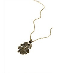 Medium Brass Lacey Oak Leaf Necklace