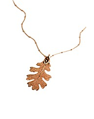 Medium Rose Gold Lacey Oak Leaf Necklace