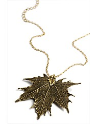 Large Vintage Brass Maple Leaf Necklace