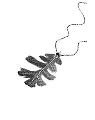 Jumbo Silver Lacey Oak Leaf Necklace