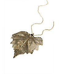 Jumbo Vintage Brass Birch Leaf Necklace