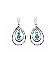 9ct WG Diamond and Blue Topaz Earrings