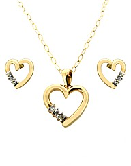 9ct YG Heart Pendant & Earring Set
