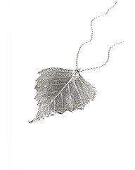Jumbo Vintage Silver Birch Leaf Necklace