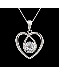Silver and CZ Stone Set Heart Pendant